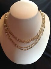 Vintage 1970's Necklace Multi Strand Chains with Pearl 30""