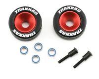 Traxxas Red Aluminum Wheelie Bar Wheels & Rubber Tires for T-Maxx, Jato - 5186