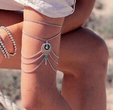 Women Lady Bohemian Turquoise Arm Cuff band Armlet Body Chain Tassel Jewellery
