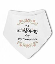 My Christening Day with Personalised Date pink flowers - Baby Bandana Bib by ...