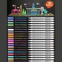 New 20-Pack Assorted Colors Metallic Art Pen Marker Set Fine Tip & Flexible Tip