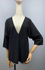 Women's BRUNELLO CUCINELLI 100% Cashmere Black V-Neck Sweater Size XL Pullover