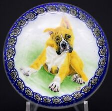 Large STUNNING Murano BOXER Dog in Garland MILLEFIORI Ring Art Glass PAPERWEIGHT