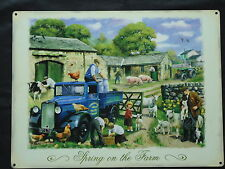 Spring On The Farm Large Metal Sign Plaque Farming Tractor