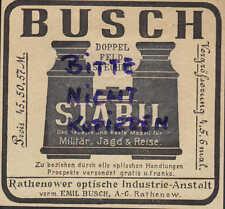 RATHENOW Werbung 1903 Emil Busch AG Prismen-Feldstecher Optik Jagd Reise Militär