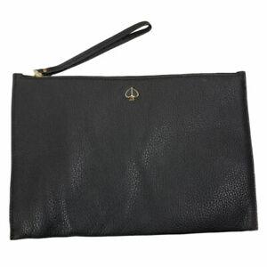 Kate Spade New York Clutch Polly Leather Large Wristlet Bag, Black