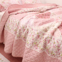 Country Cottage Pink Floral 100% Cotton Bedspread Quilt Coverlet Shabby Chic