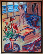 Felix S. Pfefferkorn Beach Appartement Liebesnest Acryl 92 x 73cm Seltenes Motiv