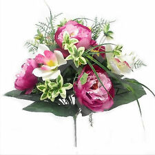 Large pink/cream mixed peony and orchid bush with gyp and lots of foliage