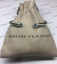 David Yurman Sterling Silver Blue Topaz and Diamonds 5mm Cable Cuff Bracelet