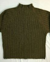 Vintage J. Crew Women's 100% Lambs Wool Cable Knit Crew Neck Sweater Brown XL