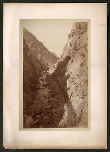WILLIAM H JACKSON, Platte Canon, Large Plate Albumen,  Railroad, COLORADO 1880's