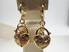 Ladies 14K 14ct  Yellow Gold Solid Rococo Heart Padlock Drop Dangle Earrings New