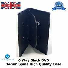 5 x 6 Way Black DVD 14mm Spine Holds 6 Discs Empty New Replacement Slim Case
