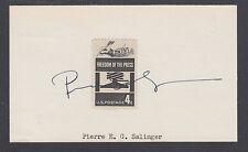 Pierre Salinger, White House Press Secretary under JFK and LBJ, signed 3x5 card