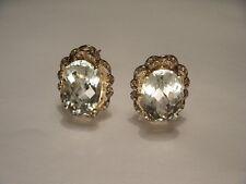 Wunderschön Estate 14K Gelbgold Grün Amethyst Diamant Filigrane Ohrringe