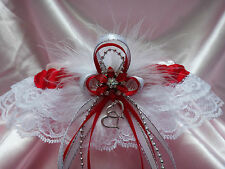PLUS SIZE RED WHITE SILVER Lace GARTER Prom Wedding Special Occasion Bridal BELT