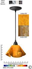 2 Jezebel Radiance Amber Yellow Gold Small Lily Pendant Lights w/Black Hardware