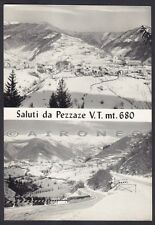 BRESCIA PEZZAZE 05 SALUTI da.. VEDUTINE - NEVE VALLE TROMPIA Cartolina viag 1973