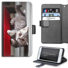 Grey Kitten Cat PU Leather Wallet Phone Case, Side Flip Case, Cover