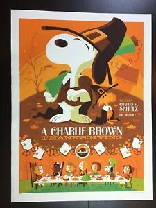 """""""A CHARLIE BROWN THANKSGIVING"""" TOM WHALEN LIMITED EDN PEANUTS SNOOPY PRINT! $75"""