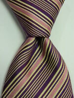 THOMAS PINK Mens 100% Silk Necktie MOROCCO Luxury STRIPED Pink/Purple/Ivory EUC