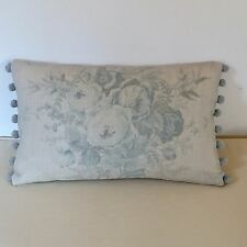 "NEW Kate Forman Blue Roses Linen Fabric 20""x12"" Pom Pom or Piped Cushion Cover"