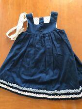 Janie and Jack NWOT Navy Blue Cotton Sleeveless Dress & Headband- 3-6 Months