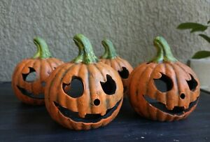 """5"""" Old Time Pottery Ceramic Pumpkin Candle Holders, Set of 4"""