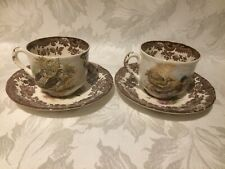 ROYAL WORCESTER PALISSY GAME SERIES PAIR OF TEA CUPS AND SAUCERS