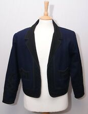 "Chaqueta of Guatemala men's traditional ethnic blue felt wool jacket M 38"" 97cm"