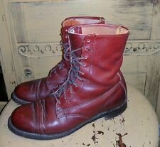 VINTAGE SERVICE BURGUNDY LEATHER GRANNY BOOTS USA  5 M 6 RIDING ANKLE RUN BIG
