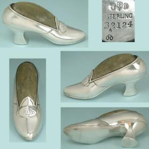 Antique American Sterling Silver Shoe Pincushion by Gorham * Dated 1891