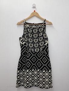 Topshop Black Cream Daisy Graphic Print 90's Square Neck Mini Dress Size 10 #4