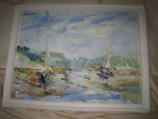 Impasto Expressionist Seascape Painting Sailboats in Harbor 11x15 Unsigned