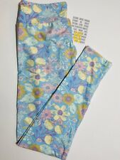 LuLaRoe Pastel Floral OS leggings Blue Pink Yellow