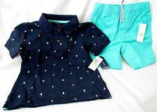 New Nautica Boys 4T Navy Blue Polo/Aqua Shorts 2 pc Short Set Sz 4T Nwt So Cute!