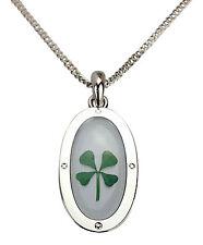 Celtique Lucky Véritable Quatre Feuilles De Trèfle Collier Pendentif Plaqué