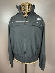 Nike Full Zip Up Wind Breaker Track Jacket Black Girls Youth Large 12-14