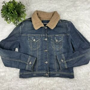 Maurices Womens Large Jean Denim Jacket Coat Sherpa Lined Blue