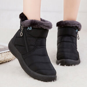 Women Warm Snow Boots Winter Fur Lining Shoes Anti-Slip Lightweight Ankle Boots