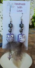 """""""W@W"""" PURPLE CERAMIC OWL/FEATHER EARRING ~ UNIQUE ~ HAND CRAFTED ~ (FISH HOOKS)!"""