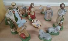 Nativity scene Holy family Christmas 11 piece hand painted in original box