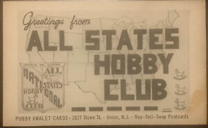 All National States Hobby Club BW Vtg Postcard Pubby Kwalet Cards Union NJ