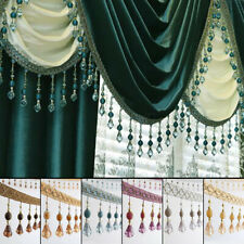 DIY Crystal Beaded Lace Fringe Trim Curtain Sewing Edge Upholstery Decor 1Meter