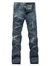 FOX JEANS Men's Hyman Regular Fit Straight Ripped Blue Denim Jeans SIZE 30