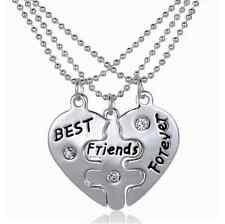 Partnerkette Herz BEST FRIENDS FOREVER 3 Partner Anhänger Ketten Freundschaft