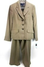 Evan Picone Pant Suit Sz 8 Liverpool Khaki Business Career Fully Lined Striped