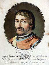 Gravure coul. Aquatinte PORTRAIT GUILLAUME LE CONQUÉRANT Sergent 1791 Normandie