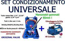 POMPA VUOTO 60 L/MIN + MANOMETRI 2 VIE 80MM R410a/R407C/134a/R22 VMG-2-R410A-02